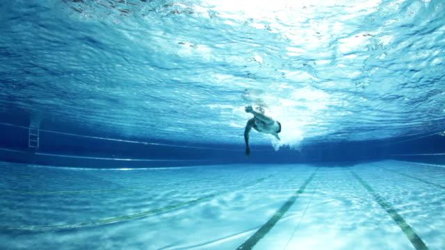 underwater view crawl swimmer video