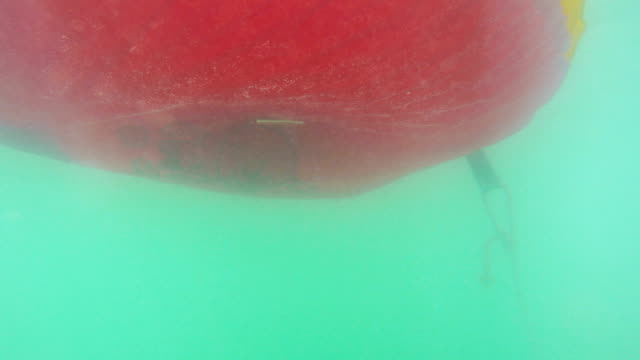 Underwater view of a moving inflatable ring that floating in the water video
