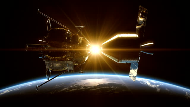 Undocking Of The Space Station In The Rays Of Sun Over Earth video