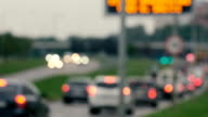Unfocused view on traffic jams in Lithuania, Blurred scene video