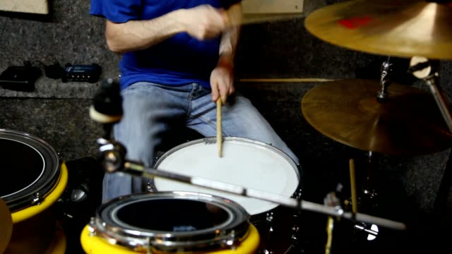 Unidentified drummer playing on drums in studio video