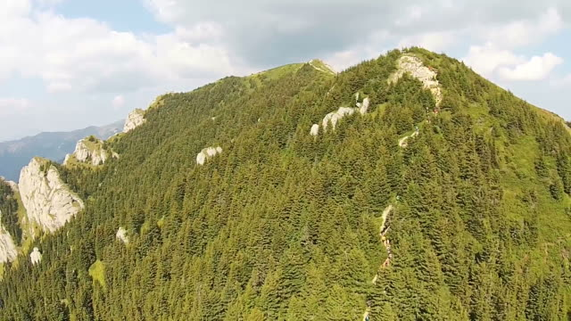Unidentified group of mountain climbers , walking in a row towards the peak of a high altitude mountain trail surrounded by steep clifs and green coniferous forest, backwards aerial shot video