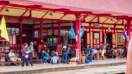 Unidentified people in Hua Hin Railway Station, Train stop. Thailand video