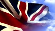 Union Jack Flag on Cloudy Blue Sky video