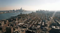 Unique Aerial Dual View of Downtown Manhattan and Downtown Jersey City 4K video