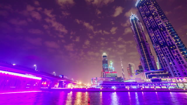 united arab emirates dubai city canal downtown traffic road bridge panorama 4k time lapse uae video