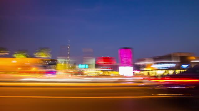 united arab emirates night light dubai city al wasl road trip downtown burj khalifa panorama 4k time lapse video