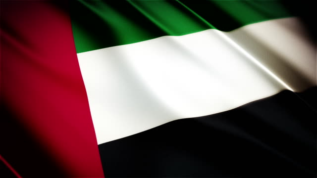 United Arab Emirates realistic national flag seamless looped waving animation video
