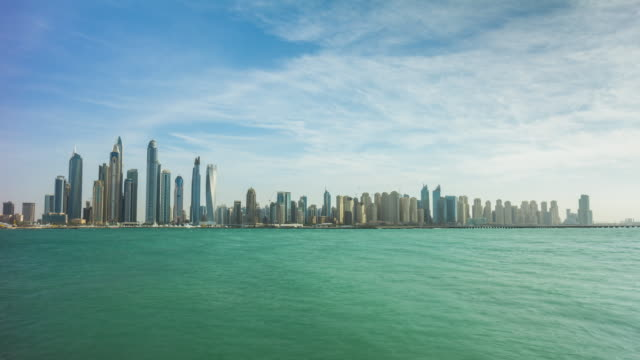 united arab emirates summer sunny day dubai marina jumeirah palm bay panorama a4k time lapse video