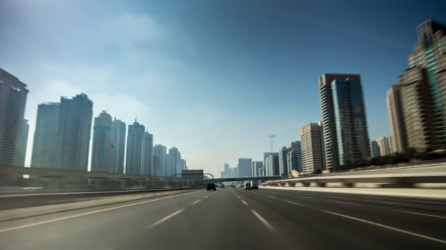 united arab emirates sunny day dubai city road trip front panorama 4k time lapse uae video