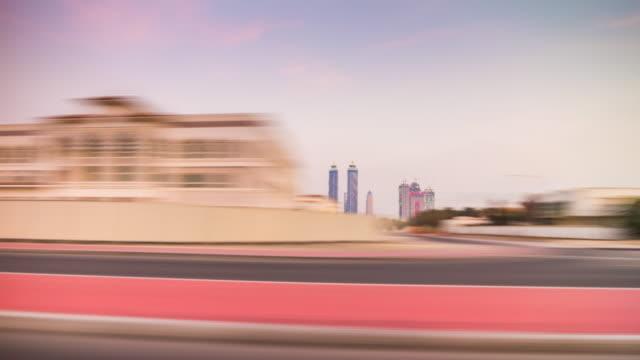 united arab emirates sunset dubai city al wasl road trip downtown side panorama 4k time lapse video