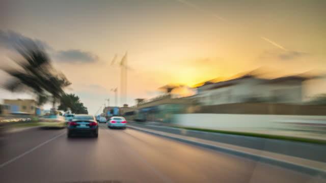 united arab emirates sunset sky dubai road trip front street view panorama 4k time lapse video