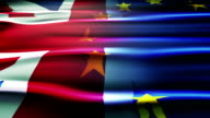 United kingdom and European union flag. video