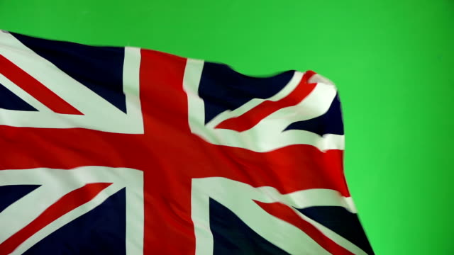 United Kingdom Flag on green screen, Real video, not CGI - Super Slow Motion (UK) video