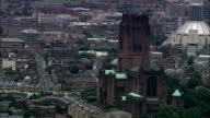 United Kingdom - Liverpool Cathedrals  - aerial view video