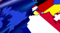 United Kingdom. Map over Europe. Motion Graphics video