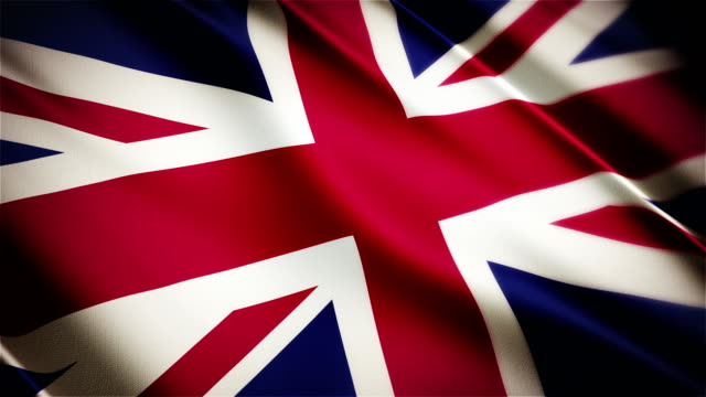 United Kingdom realistic national flag seamless looped waving animation video