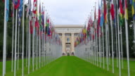United Nations building with flags, Geneva, Switzerland video