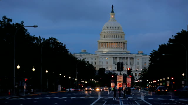 United States Capitol building at night, Washington DC video
