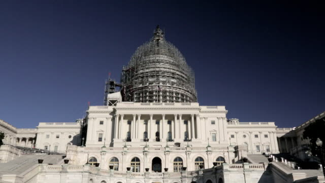 United States Capitol Dome Under Renovation with American Flag video