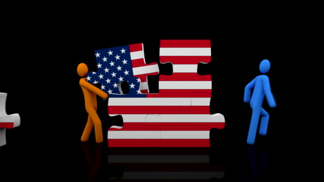 United States puzzle. Black background. video