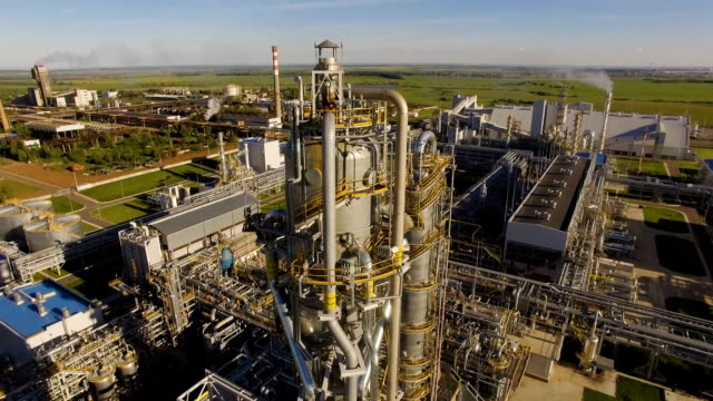 Units for nitric acid production on fertilizer plant. Aerial view video