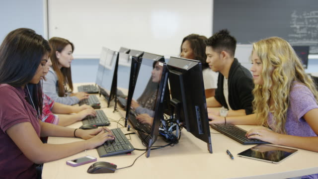 University students in a computer lab video