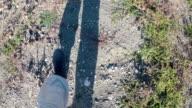 Unknown person steps on the parched Simferopol reservoir, Crimea, Ukraine video
