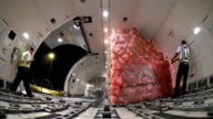 Unloading cargo inside cargo airplane, Time Lapse video