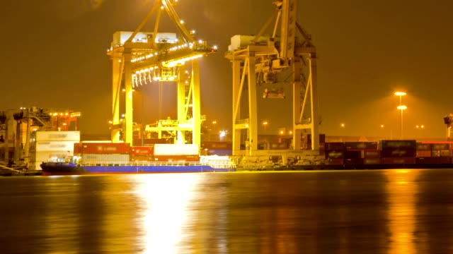Unloading Goods cargo Container from ship Time Lapse video