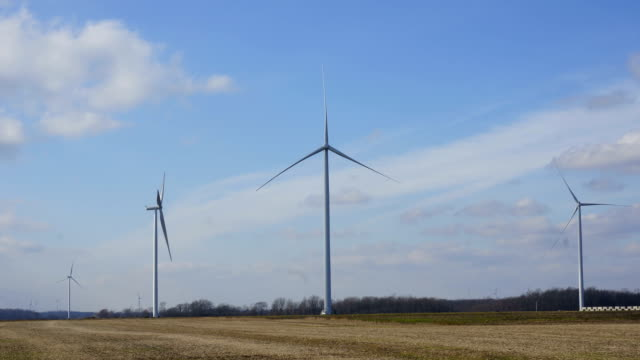 Unmoving still wind turbines on a windless day. video