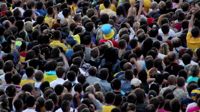 Unrecognizable crowd of soccer fans watching football. video
