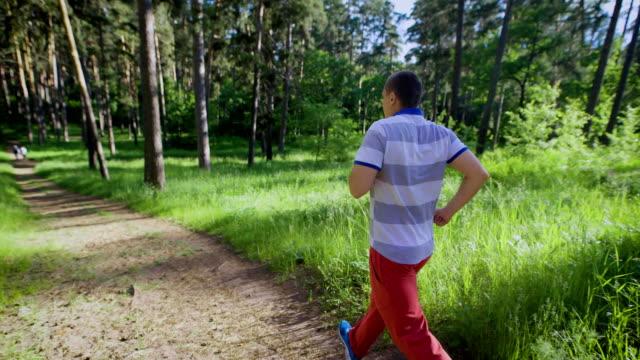 Unrecognizable man in sportswear running in sunlight of summer forest video