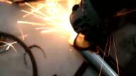 Unrecognizable person doing welding video