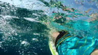 SLOW MOTION OVER-UNDER: Unrecognizable person paddling out on surfboard in ocean video