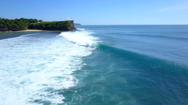 AERIAL: Unrecognizable surfer on summer vacation riding big barrel wave in Bali video