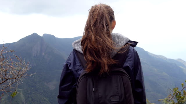 Unrecognizable woman tourist standing on the edge of beautiful canyon and enjoying landscapes. Young female hiker in raincoat with backpack reaching up top of mountain and raised hands. Rear back view video