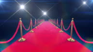 Unrolling Red Carpet animation and paparazzi camera flashes. video