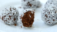 Unsweetened coconut energy bites with cocoa video