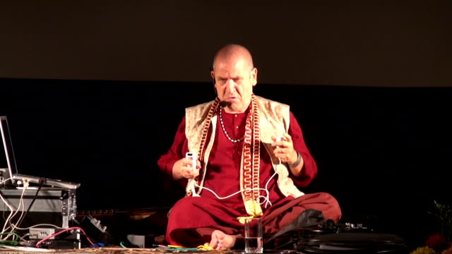 Unusual experimental musical performance of famous italian musician and composer Paolo Tofani with wireless video game controller video