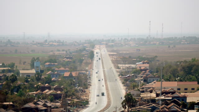Upper distance view to main village road ( time lapse) video