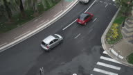 Upper view on the road with mowing cars at summer day in Nice France video