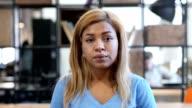 Upset Afraid Black Woman, Confused Portrait video
