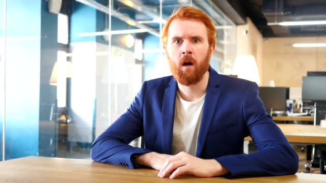 Upset Man in Office after Failure, Red Hairs video