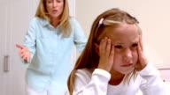 Upset mother scolding her daughter video