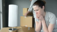 Upset woman when her partner is move out from home video