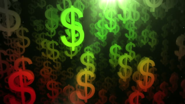 Upward Dollar Sign Background Loop - Red to Green (HD) video