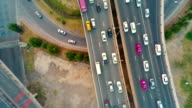 Urban city traffic aerial Highway video
