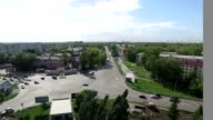 Urban crossroads with height. Shooting quadrocopter video