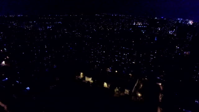 Urban district at night - aerial view video